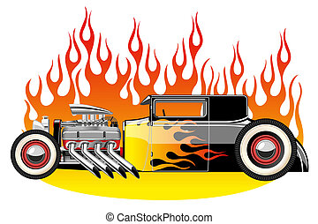 Hot rod - A vector illustration of a vintage hot rod....