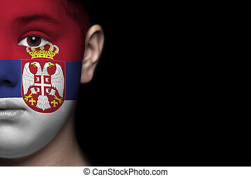 Human face painted with flag of Ser