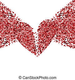 Broken heart vector background concept made of fragments for...