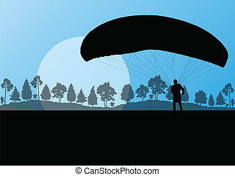 Paragliding vector background landscape concept vector for...