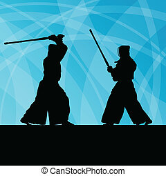 Active japanese kendo sword martial arts fighters sport...
