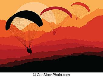 Paragliding, vettore, fondo, paesaggio, concetto, vettore