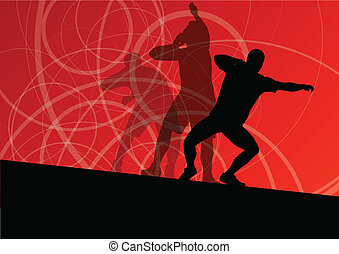 Male sport athletics ball throwing silhouettes collection...