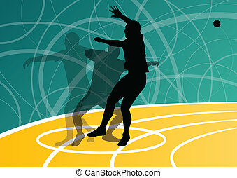 Male sport athletics. ball throwing silhouettes collection....