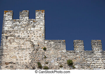Castle wall and defensive tower, isolated