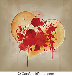 blood on vintage heart