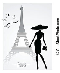 Fashionable lady in front of Eiffel Tower vector card