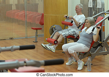 Portrait of a senior couple exercising in gym