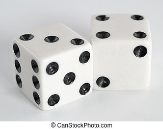 White Dice Black Dots - Two white dice with dots colored in...