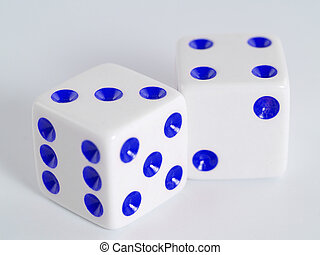 White Dice Blue Dots - Two white dice with dots colored in...