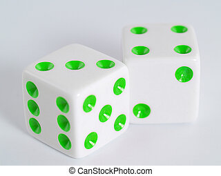 White Dice Green Dots - Two white dice with dots colored in...