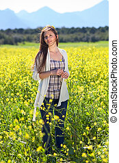 Beautiful natural young woman in the country