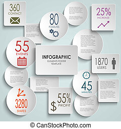 Abstract white round rectangle info graphic template vector...