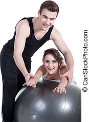 Personal training, trainer helping