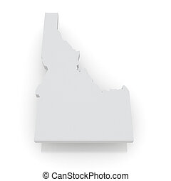 Three-dimensional map of Idaho USA 3d