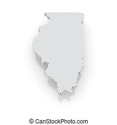 Three-dimensional map of Illinois USA 3d