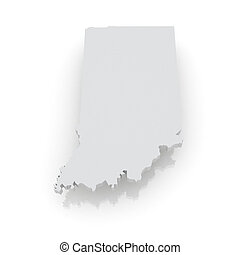 Three-dimensional map of Indiana USA 3d