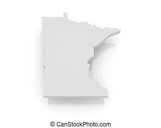 Three-dimensional map of Minnesota. USA. 3d