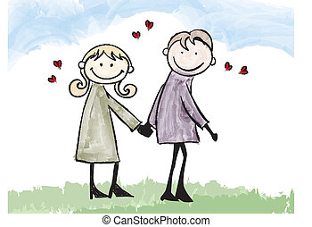 happy lover couple dating cartoon illustration