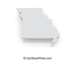 Three-dimensional map of Missouri. USA. 3d