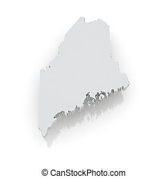 Three-dimensional map of Maine. USA. 3d