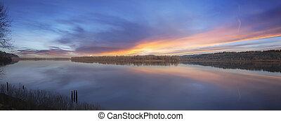 Sunset at Columbia River Panorama