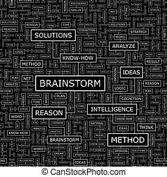 BRAINSTORM Seamless pattern Word cloud illustration