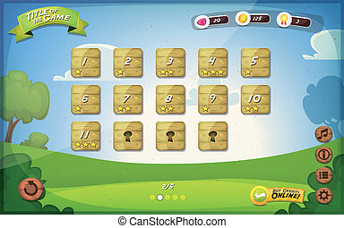 Game User Interface Design For Tablet - Illustration of a...