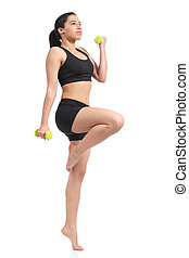 Fitness woman doing aerobic exercise with weights isolated...