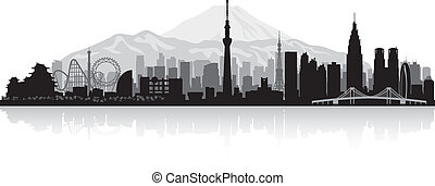Tokyo Japan city skyline silhouette - Tokyo Japan city...