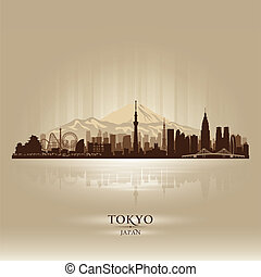 Tokyo Japan city skyline vector silhouette illustration