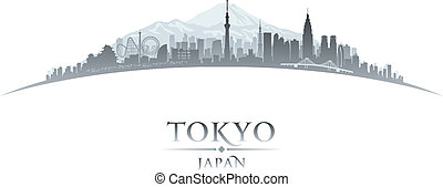 Tokyo Japan city skyline silhouette white background - Tokyo...