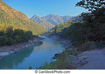 The Ganges flowin trough Himalayas near Rishikesh, India