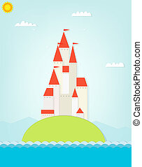 castle on the hill. cutout illustration