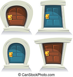 Doors Set - Illustration of a set of cartoon comic funny...