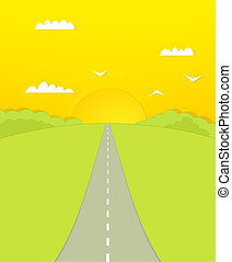 The road forward. sunset