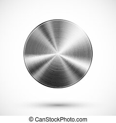 Circle button metal - Circle button vector template with...