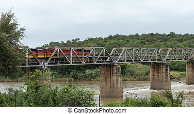 train crossing bridge over elephant riverin south africa...
