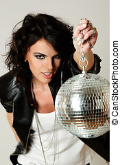 Beautiful woman with disco ball