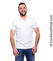 Young happy man in a white polo shirt on white background