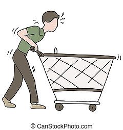 Pushing Broken Shopping Cart - An image of a man pushing a...