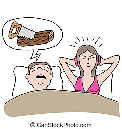 Snoring Husband - An image of a snoring husband