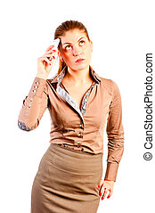 comely woman with the phone thought