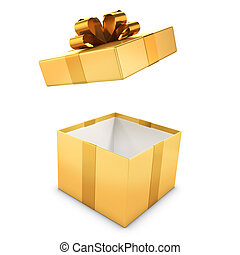 3d Gold gift box opens - 3d render of a golden gift box...