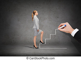 businesswoman stepping up staircase - business and education...