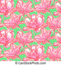 Pattern with field of bright peony flowers - Vintage vector...
