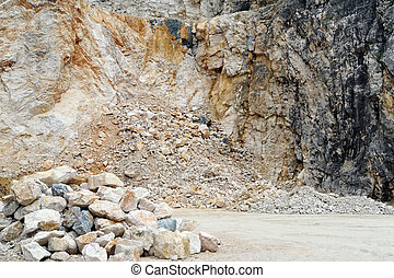 Quarry with a stack of rocks