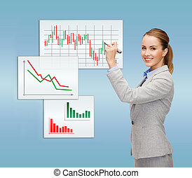 businesswoman drawing forex chart in air - office, business...
