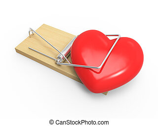 3d Heart in a mousetrap - 3d render of a mousetrap with...