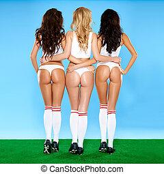 trio, excitado, erótico, femininas, atletas